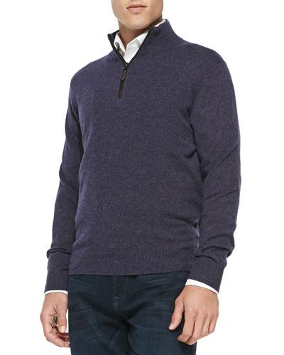 Neiman Marcus Nano-Cashmere 1/4-Zip Pullover, Dark Purple