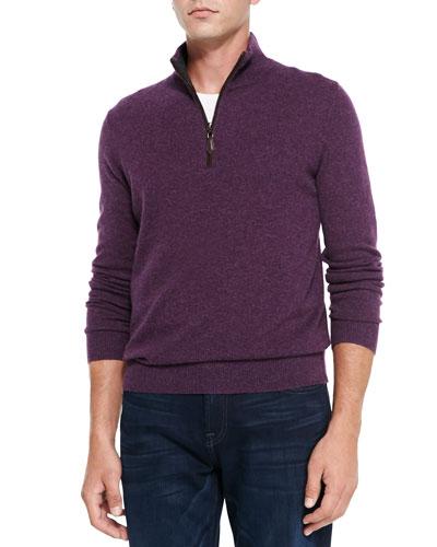 Neiman Marcus Nano-Cashmere 1/4-Zip Pullover, Purple