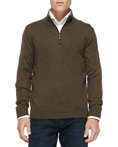 Neiman Marcus Nano-Cashmere 1/4-Zip Pullover, Brown