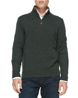 Neiman Marcus Nano-Cashmere 1/4-Zip Pullover, Dark Green