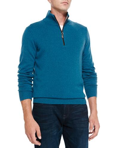 Neiman Marcus Nano-Cashmere 1/4-Zip Pullover, Blue