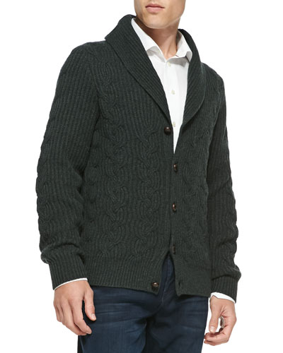 Neiman Marcus Chunky Cable-Knit Cashmere Cardigan, Black