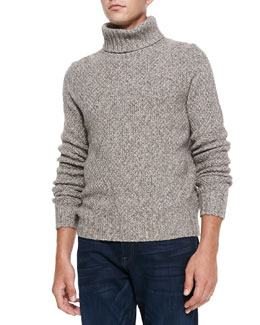 Neiman Marcus Marled Super Yak-Merino Turtleneck Sweater, Beige