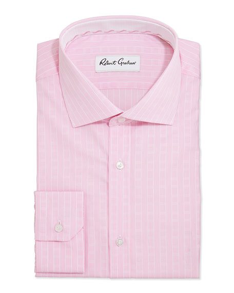 Lex Striped Jacquard Dress Shirt, Pink