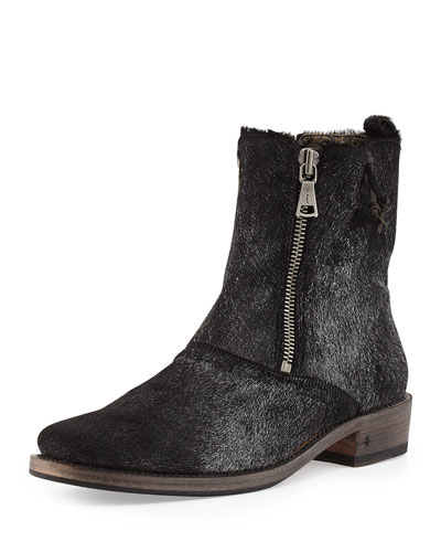 John Varvatos Double-Zip Pony Hair Boot, Black