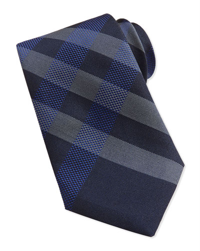 Small-Check Woven Tie, Navy