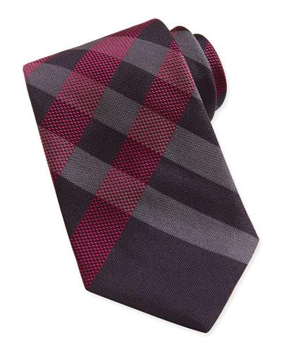 Small-Check Woven Tie, Maroon