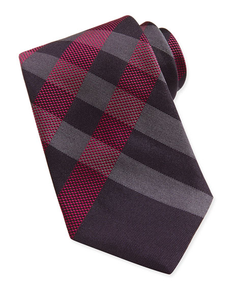 Burberry Small-Check Woven Tie, Maroon