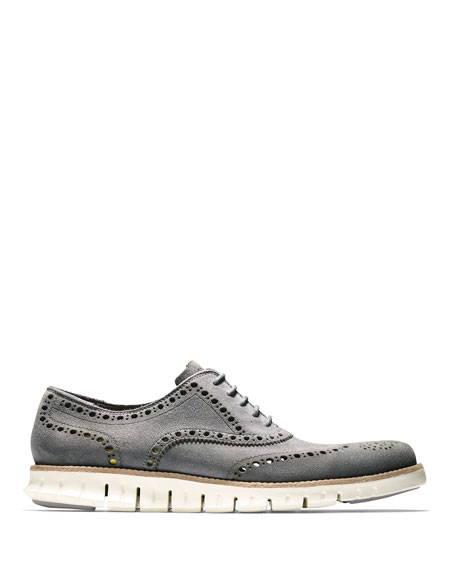 Zerogrand Suede Wing-Tip Oxford, Iron Stone