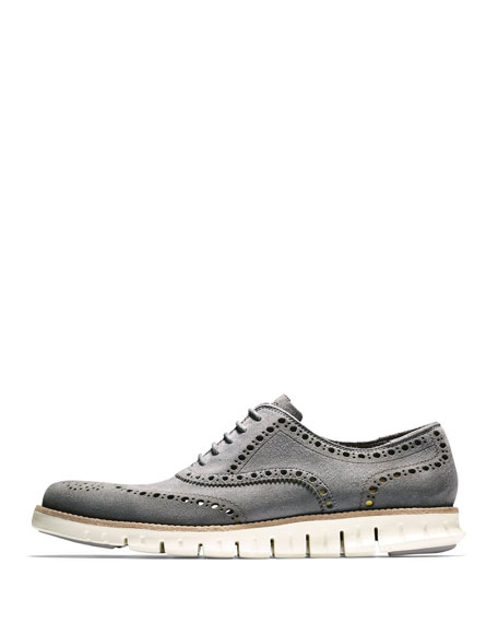 Cole Haan ZeroGrand Suede Wing-Tip Oxford, Iron Stone
