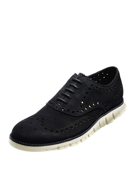 Cole Haan ZeroGrand Suede Wing-Tip Oxford, Black