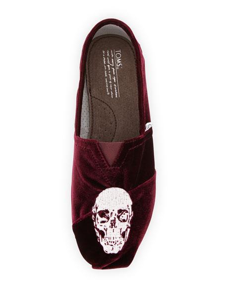 Embroidered Velvet Skull Slipper