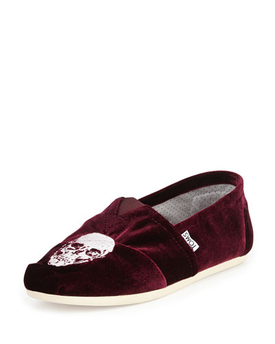 Embroidered Velvet Skull Slipper