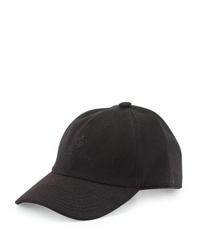 Cashmere Storm System Baseball Cap, Black