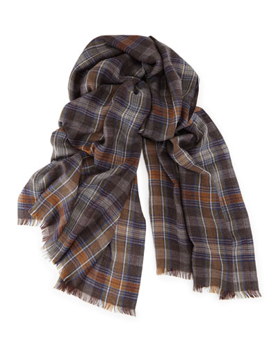 Loro Piana Sciarpa Pienza Soft Air Cashmere Scarf, Gray/Blue