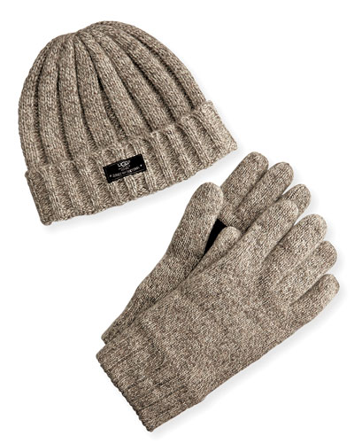 Men's Hat and Glove Box Set, Oatmeal