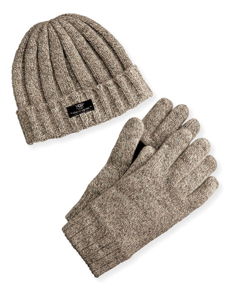UGG Men's Hat and Glove Box Set, Oatmeal
