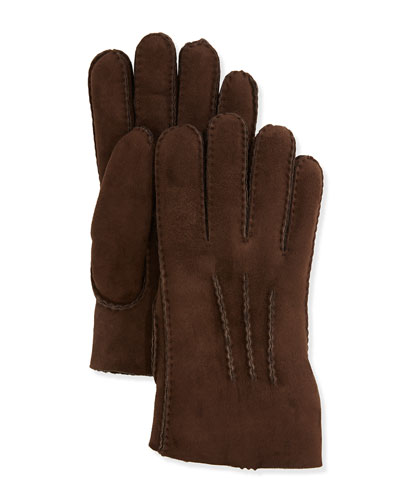 Shearling Gauge-Point Gloves, Chocolate