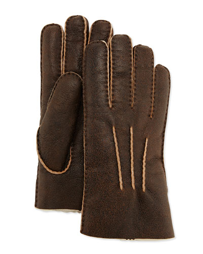 Gauge Point Shearling Gloves, Bomber Chocolate