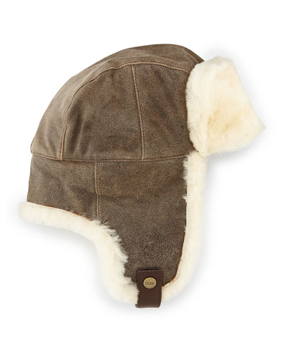 Shearling Trapper Hat, Bomber Chocolate