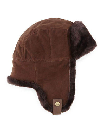 Shearling Trapper Hat, Chocolate