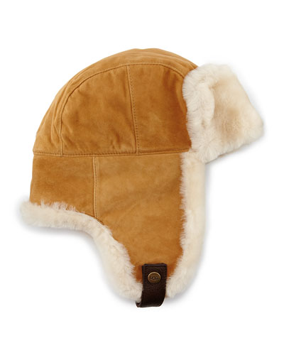 Shearling Trapper Hat, Chestnut