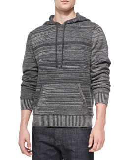 Neiman Marcus Cashmere Striped Hoodie, Charcoal