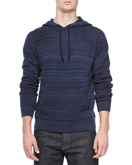 Neiman Marcus Cashmere Striped Hoodie, Denim