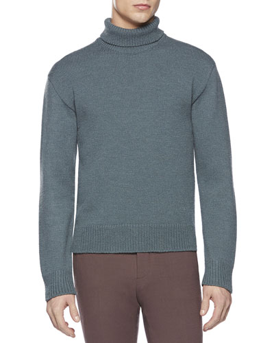 Gucci Alpaca-Blend Turtleneck Sweater, Blue