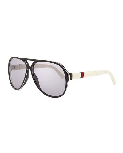 Plastic Aviator Sunglasses, Black/White
