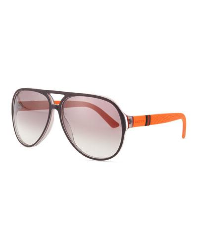Plastic Aviator Sunglasses, Gray/White/Brick