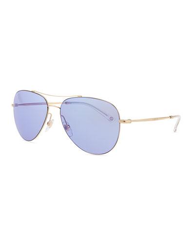 Metal Aviator Sunglasses, Gold/Copper