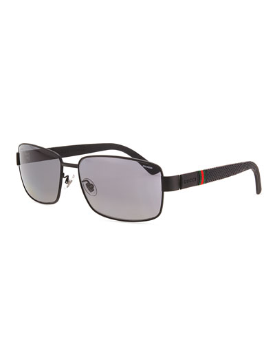 Gucci Matte Stainless-Steel Sunglasses, Black