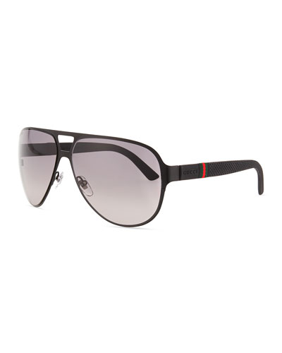 Light Steel Aviator Sunglasses, Black