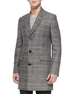 Maison Martin Margiela Glen Plaid Wool-Blend Coat, Black/White