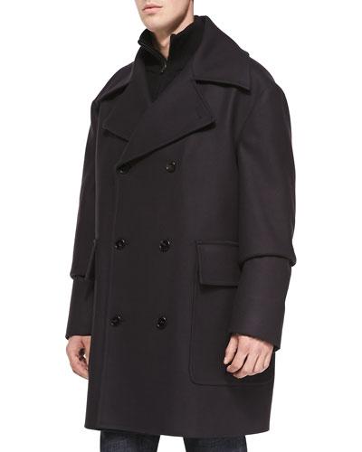 Maison Martin Margiela Oversized Wool-Blend Peacoat, Dark Navy