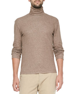 Maison Martin Margiela Bonded Jacquard Turtleneck, Light Brown