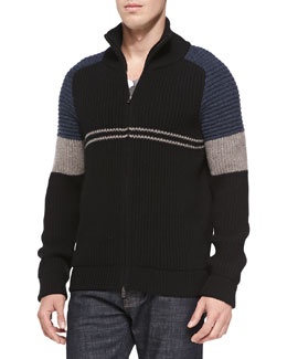 Maison Martin Margiela Colorblock Ribbed-Knit Zip Cardigan, Navy