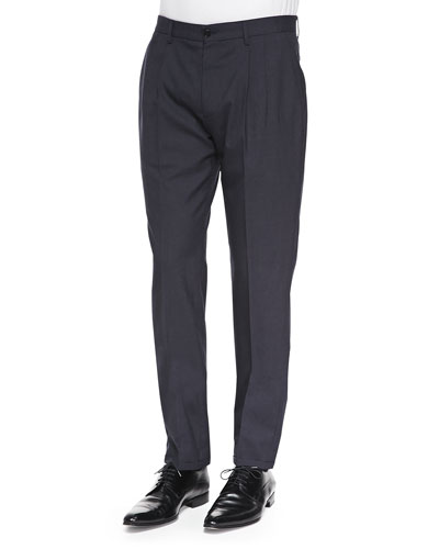 Maison Martin Margiela Pleated Wool/Mohair Trousers, Dark Navy