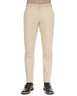 Maison Martin Margiela Garment Dyed Slim-Fit Trousers, Tan