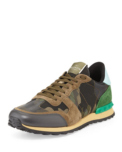 Valentino Rockstud Camo-Print Sneaker, Green