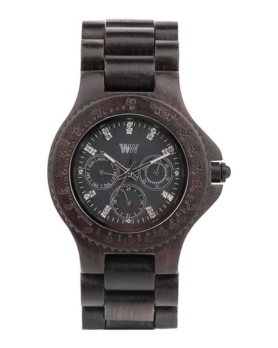 WeWood Watches Cygnus Wooden Chrono Watch, Black