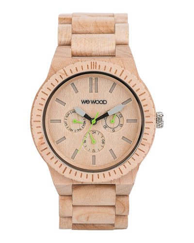 WeWood Watches Kappa Maple Wood Chrono Watch, Beige