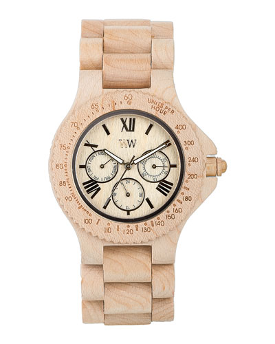 WeWood Watches Sitah Maple Wood Chrono Watch, Beige