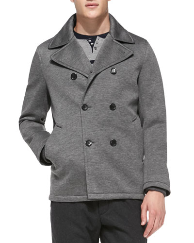 Vince Heather Neoprene Peacoat, Gray