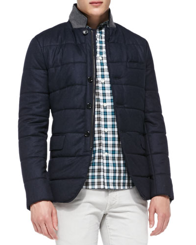 Vince Quilted Flannel Blazer, Navy