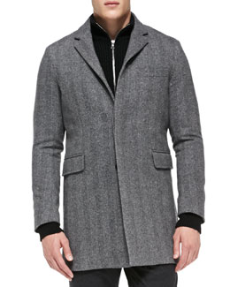 Vince Herringbone Topcoat, Gray