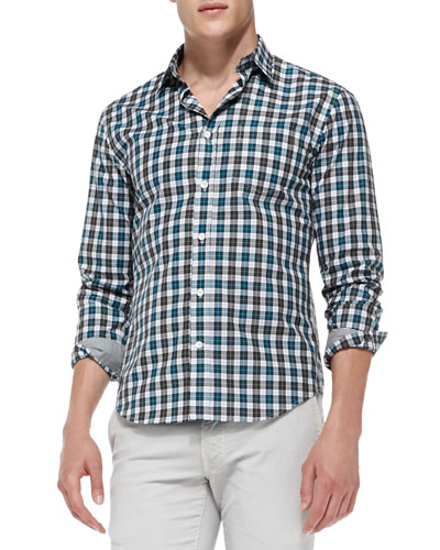 Slim Check Woven Shirt, Green Gray