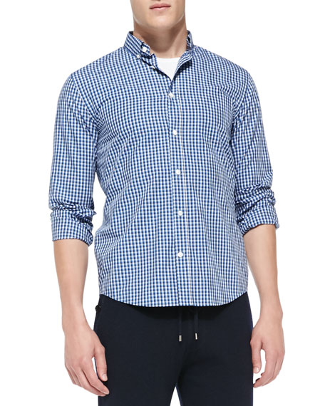 Two-Tone Gingham-Check Shirt, Blue/White