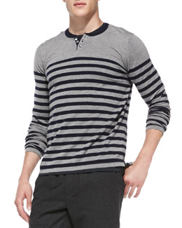 Vince Striped Wool/Cashmere Henley, Gray/Navy